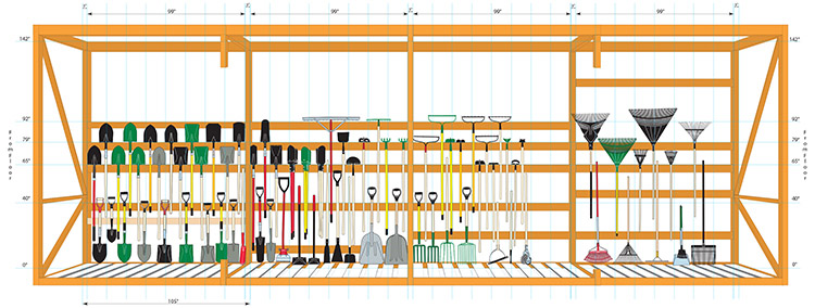 Illustrated plan-o-gram layout of products in a large steel retail bay