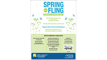 An illustrated poster uses a flower background to announce a spring business event
