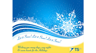 A Christmas card with a large illustrated snow flake against a dark blue background