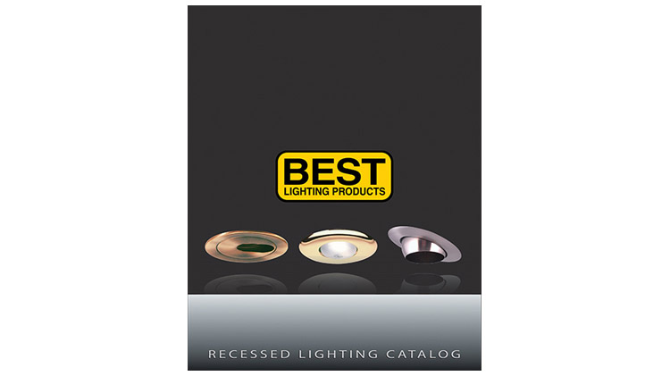An image showing the cover of the BEST Lighting Products recessed lighting catalog with the BEST Lighting logo and an image of three recessed lights