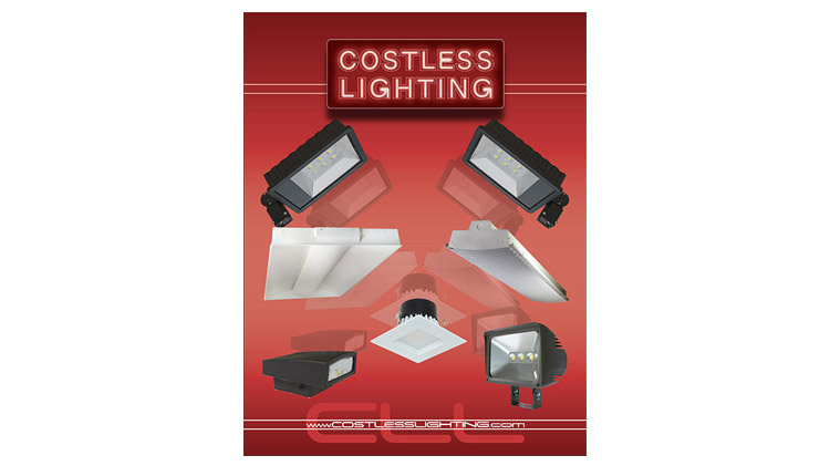 An image showing the cover of the CostLess Lighting Products catalog with the logo and an image of six lighting fixtures