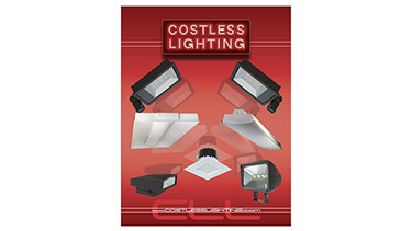 An image showing the CostLess Lighting Products catalog with the logo and an image of six lighting fixtures