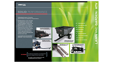 An image showing the inside cover of the Ohio Steel Industries product catalog with a variety of lawn and garden tractor attachments with a close up of grass blades
