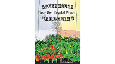 A book cover with a digital illustration of extreme hot and cold weather from inside a greenhouse with many healthy vegetable plants
