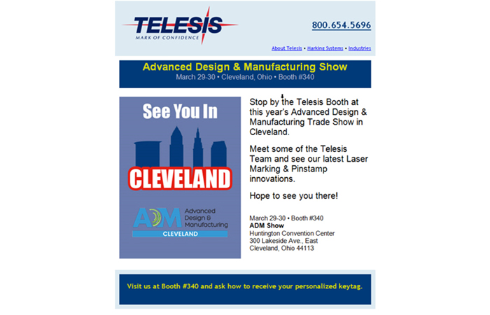 A screen shot of an email campaign for a trade show