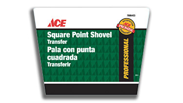 A product label for a shovel in the Ace Hardware brand