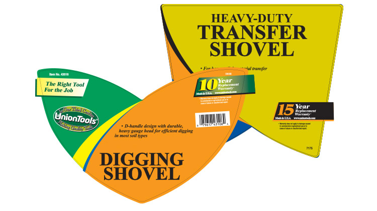 Product labels for lawn and garden tools under the UnionTools brand name