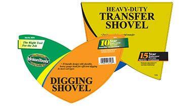 Product labels for shovels under the UnionTools brand name