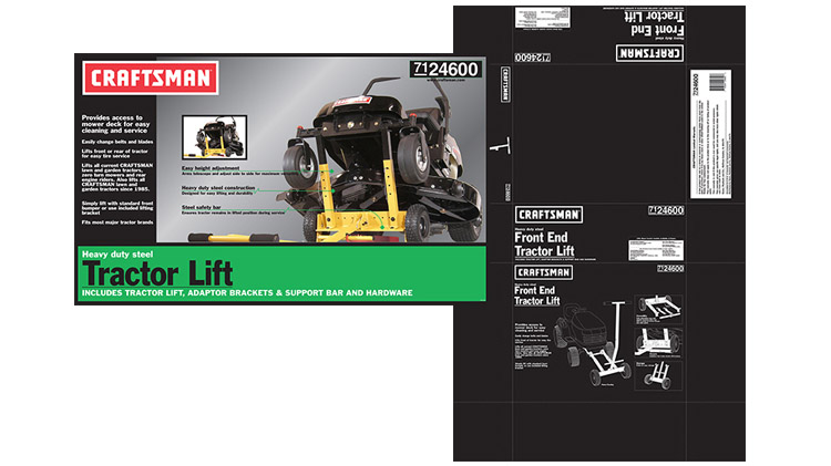 Layout artwork graphics for a corrugate box and large label under the Craftsman brand for Ohio Steel Industries