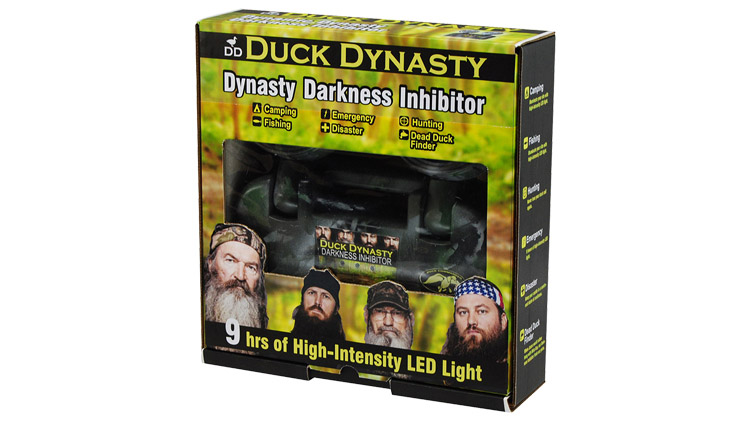Photograph of a proposed lighting fixture package branded under Duck Dynasty