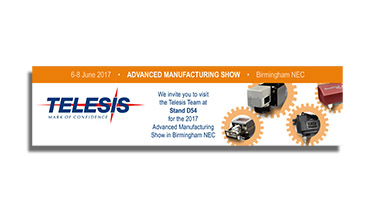 A Telesis Technologies website banner advertisement with logo image and four marking products, each visually extruding from a gear illustration.