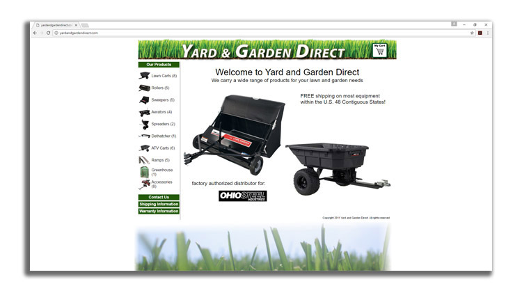 A screenshot of a website page displaying a lawn sweeper