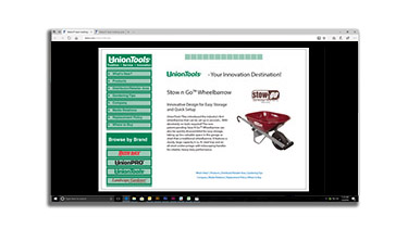 A screenshot of a website page displaying a wheelbarrow
