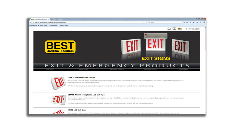 A screenshot of a BEST Lighting Products website page design displaying exit signs